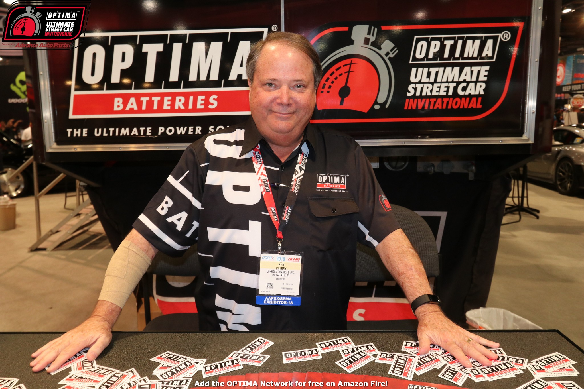 Ken Cherry has all the free OPTIMA decals at the 2018 SEMA Show